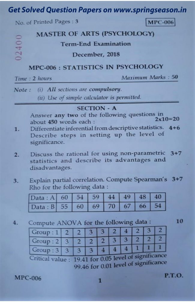 MPC – 003 Dec 18 Question Paper - MAPC Help